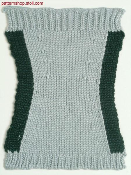Fully Fashion swatch with lateral intarsia stripes / FullyFashion Musterausschnitt mit seitlichen Intarsiastreifen