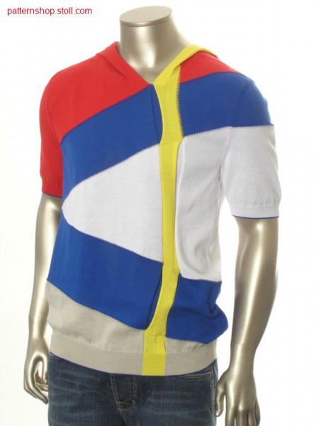 Ringed fully fashion hooded pullover in gore technique / Geringelter Fully Fashion Kapuzenpullover in Spickeltechnik