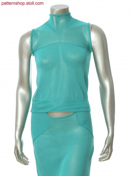 Fully Fashion top with horizontally knitted shoulder and neck part in Stoll-knit and wear&reg