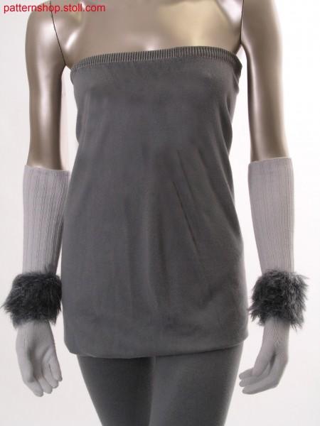 Long gloves with stripe in fake fur / Lange Handschuhe mit Ringel in Felloptik