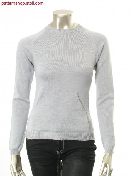 Raglan pullover with split patch kangaroo pocket / Raglanpullover mit aufgesetzter, geteilter K