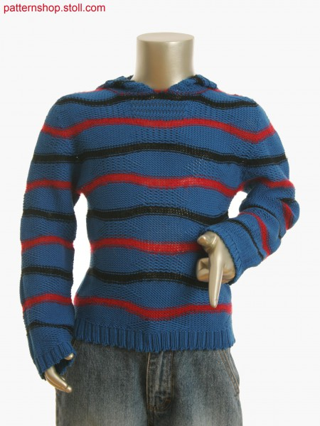 Kids hoody in 3-color stripe and float structure with knitted on trims