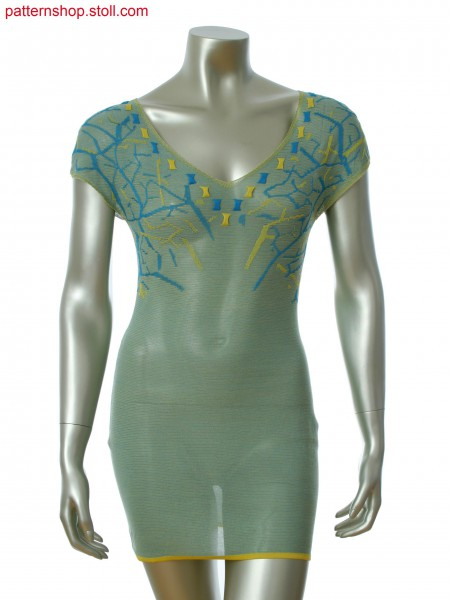 Fully Fashion dress with V-neck in 3-color relief jacquard and gore technique Stoll-applications&reg
