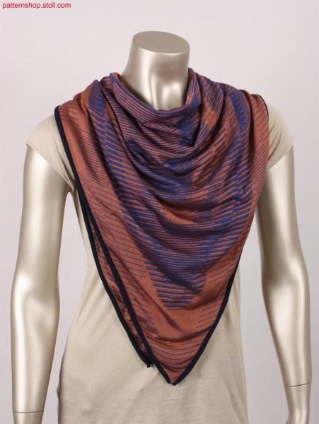Jersey foulard with inverse plated geometric motif / Rechts-Links Foulard mit wendeplattiertem Geometrie-Motiv