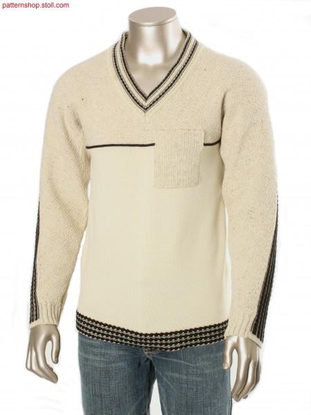 Fully Fashion intarsia pullover with racked structured bordure / Fully Fashion-Intarsia Pullover mit Versatz-Struktur