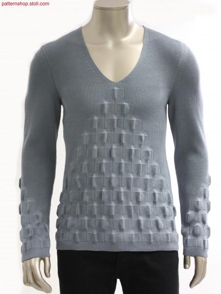 Fully Fashion V-neck pullover in 1x1 tuck rib / Fully Fashion Pullover mit V-Ausschnitt in 1x1 Fangrippe