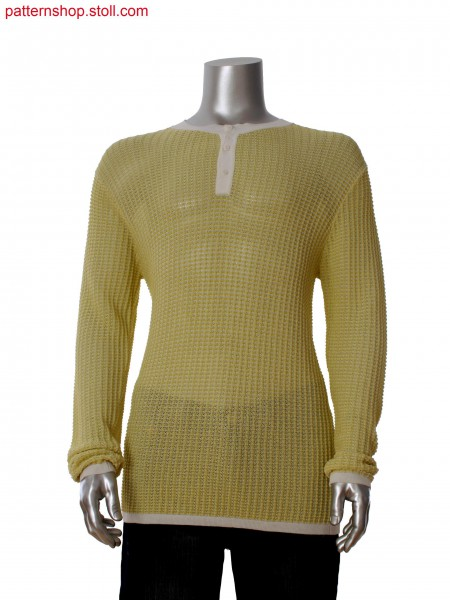 Fully Fashion pullover in full rib with holding stitches andtransferring, placket with integrated button hole