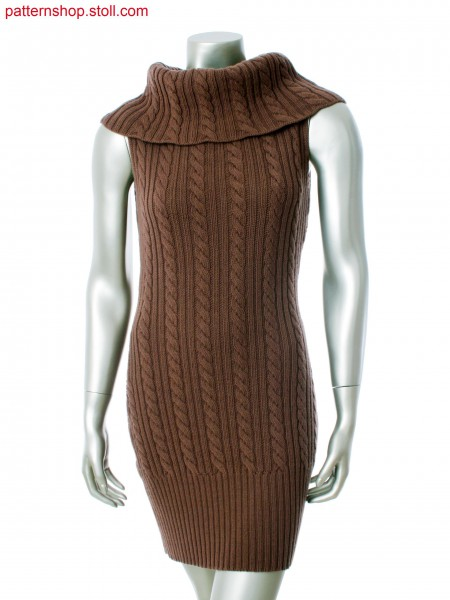 Fully Fashion sleeveless dress with high turndown collar, 2x2 rib and 4x4 cable