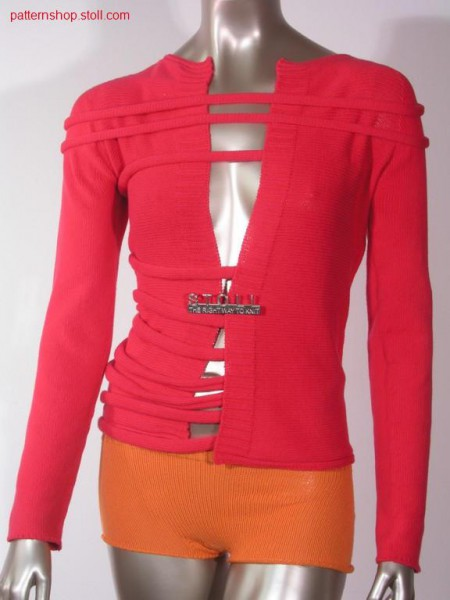 Jacket with knitted on Intarsiastrapes / Jacke mit angestrickten Intarsiab