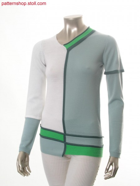 Fully Fashion-intarsia pullover with double sleeves / Fully Fashion-Intarsia Pullover mit Doppel