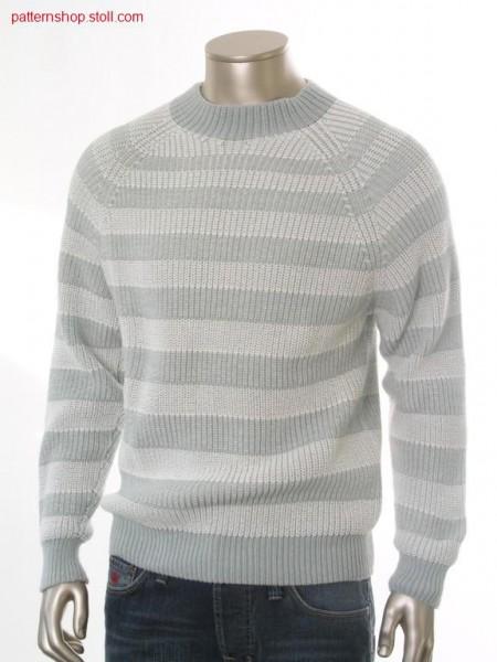 Ringed half-cardigan raglan pullover / Geringelter Perlfang Raglanpullover