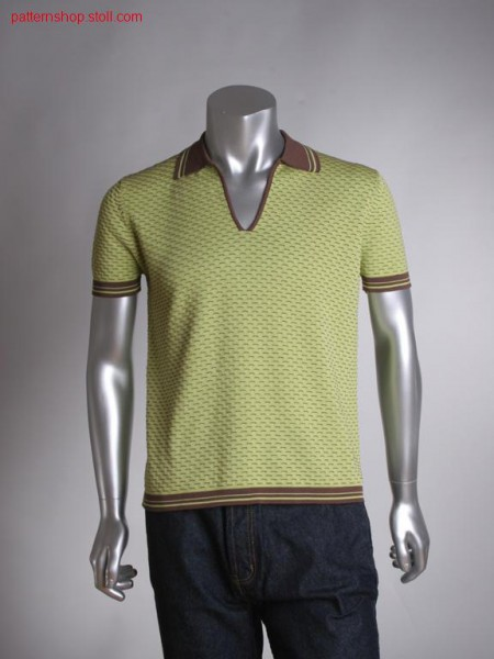 FF polo shirt with 2-colour jersey structure / FF Polohemd mit 2-farbiger Rechts-Links Struktur