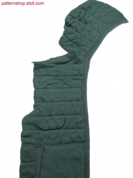Front part of hooded quilted cardigan with felt-like innerlining