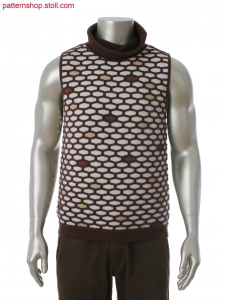 Fully Fashion sleeveless pullover in 5-color intarsia with ripple structure