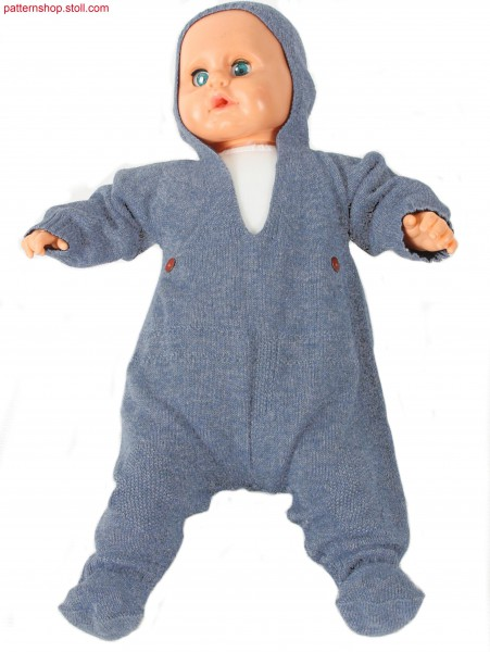 Jersey romper suit with hood / Rechts-Links Kapuzen-Strampelanzug