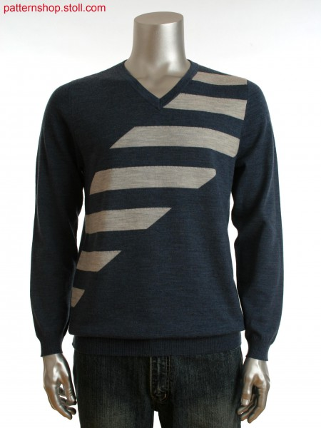 Fully Fashion men's V-neck sweater with front and back as cross tubular jacquard
