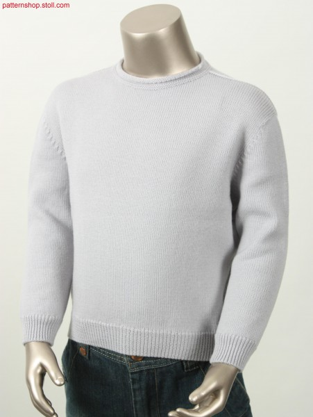 Fitted jersey pullover with French shoulder / Taillierter Rechts-Links Pullover mit Franz