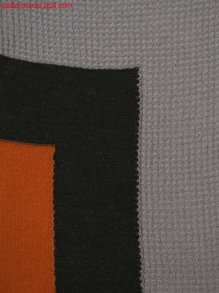 Knitted fabric in 3-color intarsia with individal structures (rice grain, links/links, tucks)