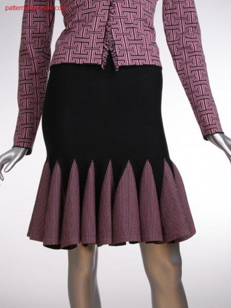 Jersey Godet skirt with knitted on hem / Rechts-Links Godet Rock mit angestricktem Saum