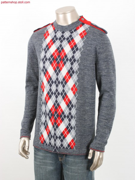 Fully Fashion pullover with argyle intarsia pattern / Fully Fashion Pullover mit Argyle-Intarsiamuster