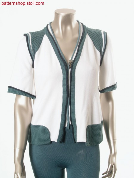 Felt-like Fully Fashion short-sleeved cardigan / Filzartige Fully Fashion Kurzarmstrickjacke