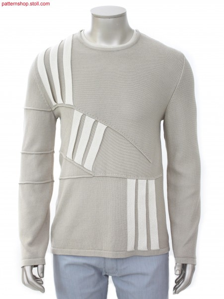 Pullover with tubular intarsia pleats / Pullover mit Schlauch-Intarsiafalten