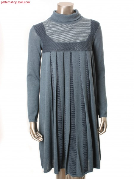 Fully Fashion empire dress with intarsia hound's-tooth / Fully Fashion Empirekleid mit Intarsia Hahnentritt