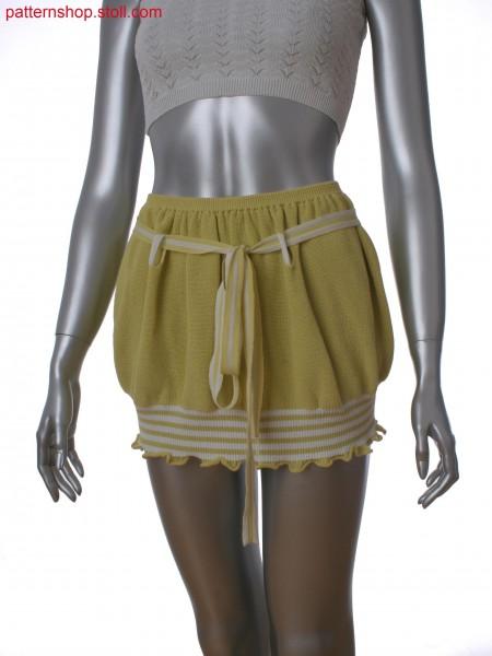 Fully Fashion 2-color mini skirt in 2x2 rib with elastic yarn as start and half cardigan
