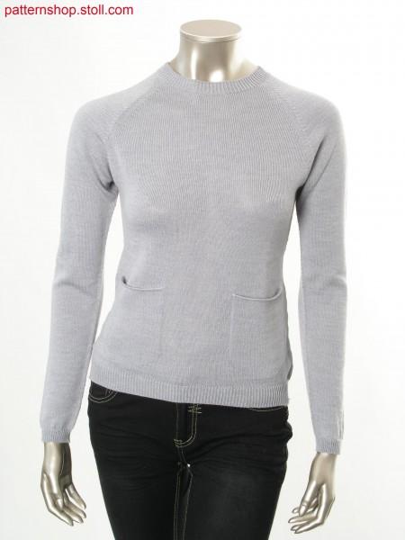 Jersey raglan pullover with rounded patch pockets / Rechts-Links Raglanpullover mit abgerundeten, aufgesetzten Taschen