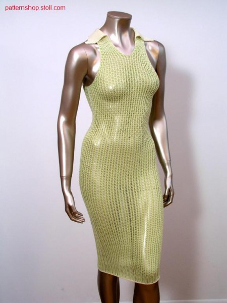 Ringed sleeveless jersey dress with transfer structure / Geringeltes