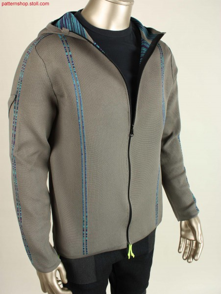 Reversible hoodie jacket with stripes in cross tubular / Wende-Kapuzenjacke mit Kreuzschlauchstreifen