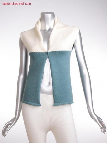 Fully fashion jersey Gilet with shawl collar / Fully FashionRechts-Links Gilet mit Schalkragen