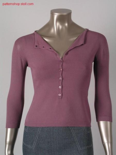Fitted jersey short pullover / Taillierter Rechts-Links Kurzpullover