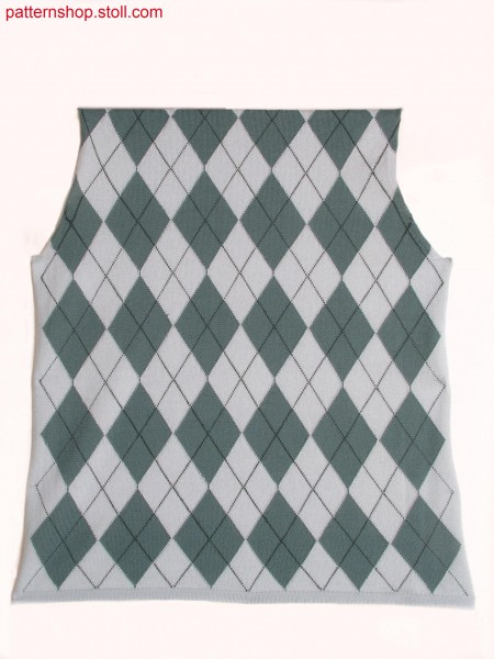 Argyle intarsia pattern with 25 intarsia yarn carriers / Argyle Intarsiamuster mit 25 Intarsia Fadenf