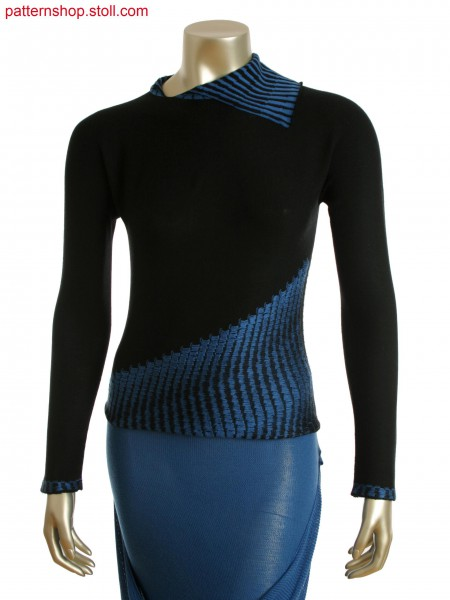 Stoll-knit and wear&reg Pullover in 2-color float intarsia jacquard