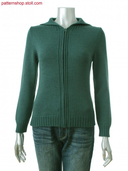 Fully Fashion fitted women's cardigan with knitted on trimmings