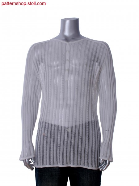 Fully Fashion long sleeve T-shirt with saddle shoulder, tuck& cable structure and integral placket with button holes