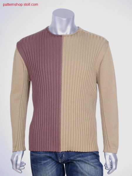 FF-Intarsia pullover in 4x3 rib-jersey / FF-Intarsia Pullover in 4x3 Rippe-Rechts-Links