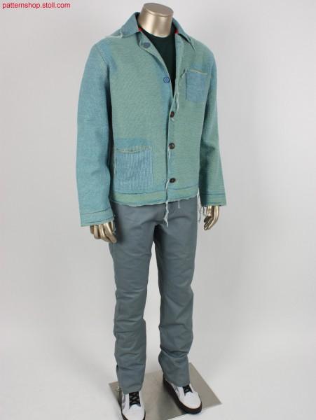 Denim workwear jacket in plated jersey / Jeans Arbeitsjacke in plattiertem Rechts-Links