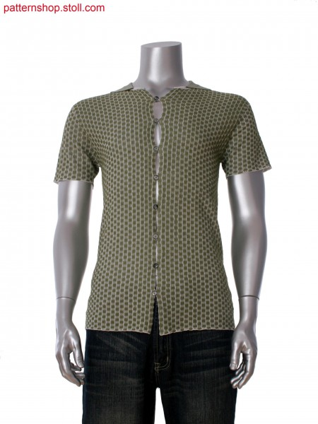 Fully Fashion short sleeve shirt in 2-color transfer float jacquard with integral button loop