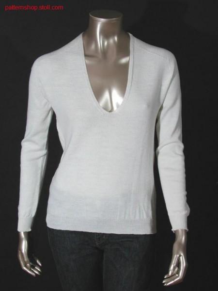 Jersey pullover with saddle shoulder / Rechts-Links Pullover mit Sattelschulter