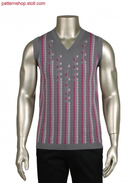 Fully Fashion vest, 3 colour intarsia net jacquard (28 OIFF)