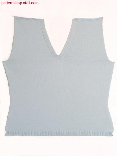 Fully Fashion jersey front with V-neck in tubular / Fully Fashion Rechts-Links Vorderteil mit V-Ausschnitt in Schlauch
