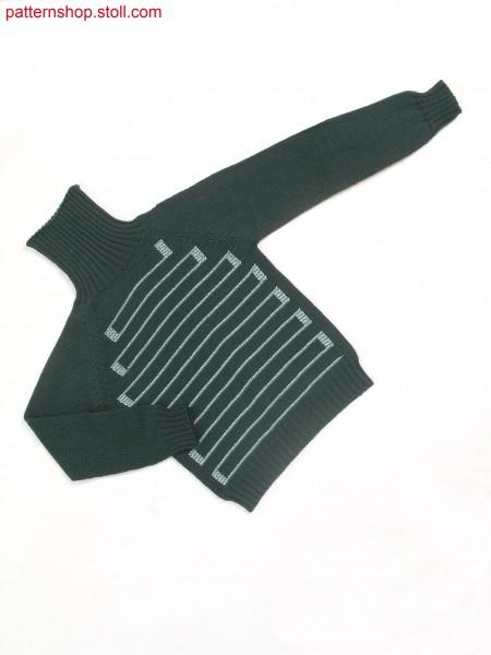 Children's intarsia-raglan pullover with stripes / Kinder Intarsia-Raglanpullover mit Ringeln