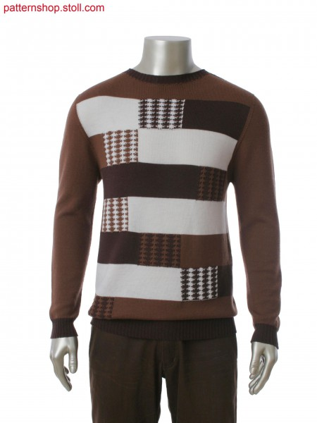 Stoll-knit and wear&reg round neck pullover in 3-color intarsia jacquard