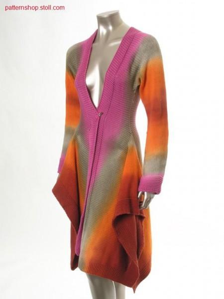 Jersey tail coat in tie-dye-technique / Rechts-Links Zipfelmantel in Bandana-Technik