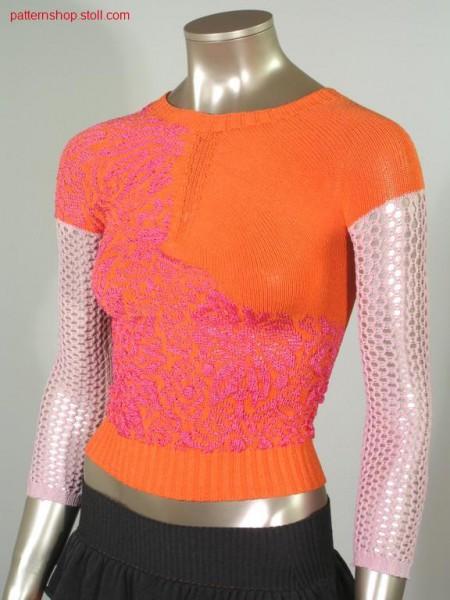 Float jacquard sweater with pointel / Flottjacquardpullover mit Petinet.