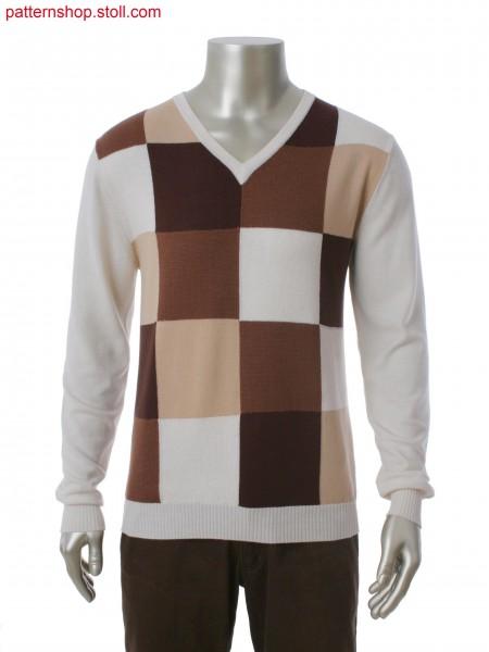 Fully Fashion V-neck pullover in 4-color intarsia
