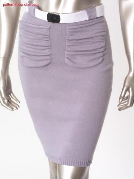 Tight jersey skirt with gathered pockets / Enger Rechts-Links Rock mit gerafften Taschen