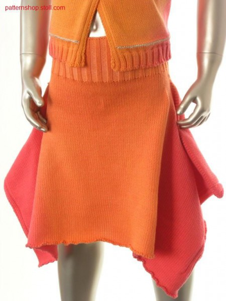 Jersey cildren's tail skirt in tie-dye-technique / Rechts-Links Kinderzipfelrock in Bandana-Technik